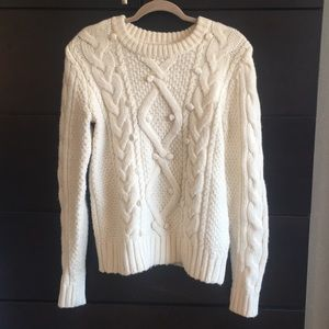 Ivory Cable Knit Fisherman Sweater with Poms